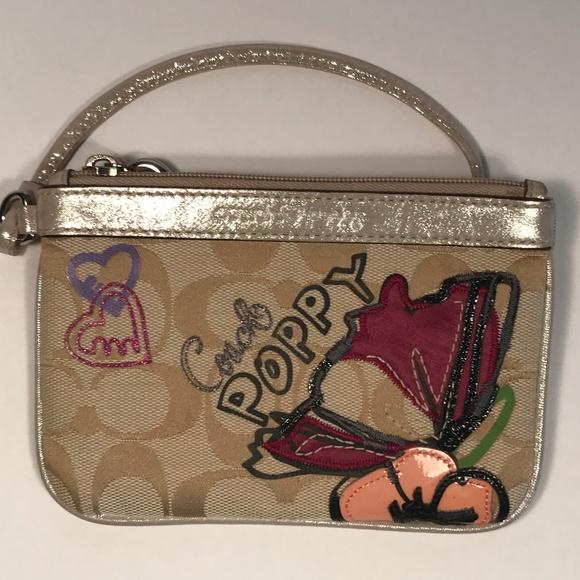 Coach Handbags - Coach Poppy Logo Jacquard Wristlet